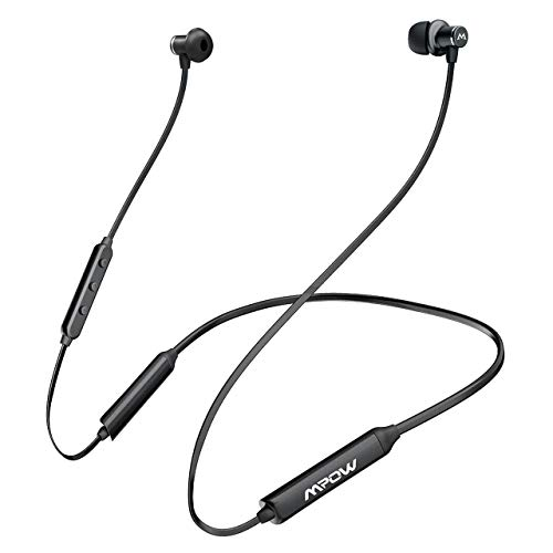 Mpow A4 Bluetooth Headphones 13-Hrs Playtime, Bluetooth Neckband Headphones aptX Stereo & CVC 6.0 Noise Cancelling Mic, Wireless Sports Earbuds Magnetic -