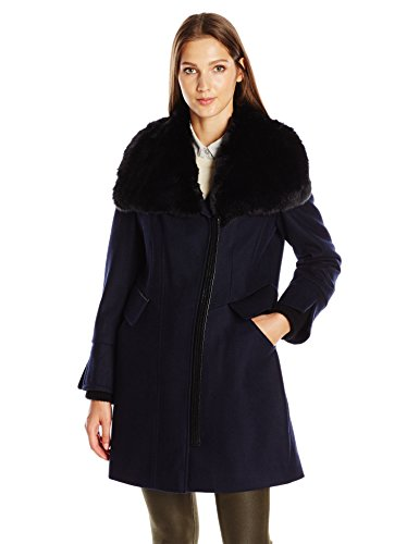 - Via Spiga Women's Mid-Length Asymetrical Wool with Soft Fux Fur Collar and Faux Leather Trim, Midnight, 8