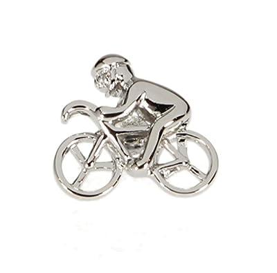 Mens Lapel Pin Tie Tack Silver Bicycle Rider 3D Emblem