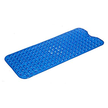 Simple Deluxe Anti-Bacterial Anti-Slip-Resistant Bath Mat, 16  W x 39  L, Extra Long, Blue