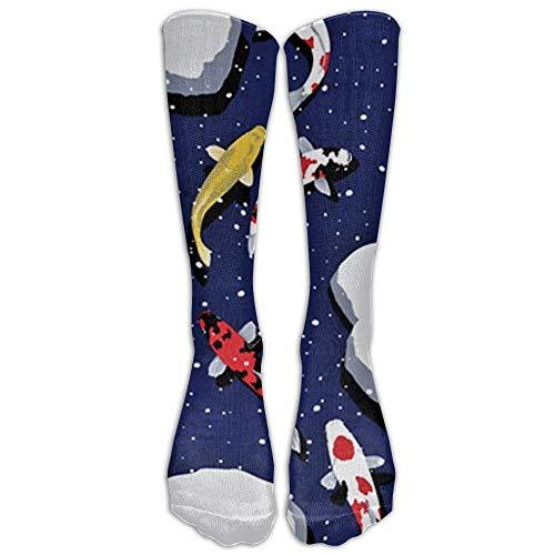 (Womens Stylish High Socks Snowy Pond Koi Compression Soccer Splints Warm Tube Stockings for Veins,Travel,Running,Pregnancy,Shin,Medical)