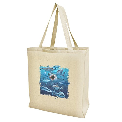 (Shark Infested Waters Great White Grocery Travel Reusable Tote Bag - Large)