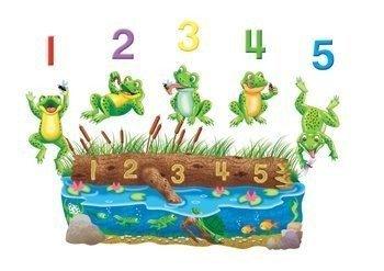 Little Folk Visuals Five Speckled Frogs Precut Flannel/Felt Board Figures, 11 Pieces Set