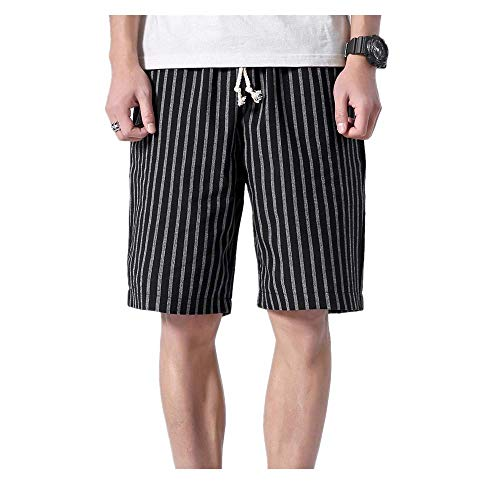 JJLIKER Men Stripes Casual Shorts Outdoors Big Tall Trouser Pant Classic Fit Drawstring with Elastic Waist and Pockets Black