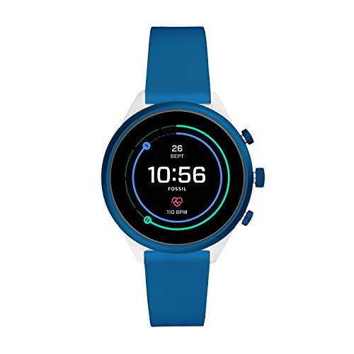Fossil Women's Sport Heart Rate Metal and Silicone Touchscreen Smartwatch, Color: White, Blue (Model: FTW6051)
