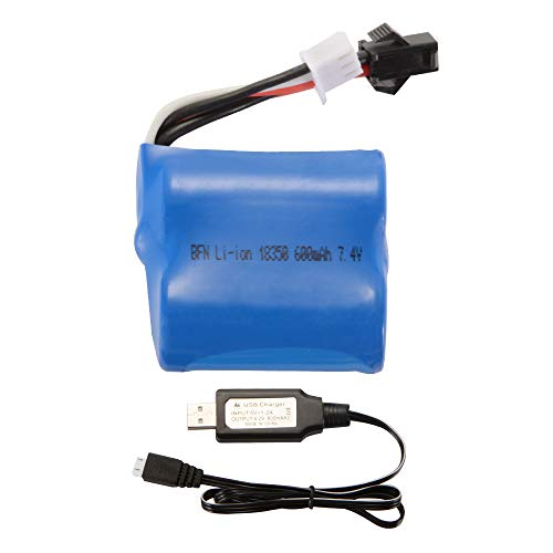XCSOURCE 7.4V 600mAh Li-ion 18350 Battery + USB Charger Cable for Skytech H100 H102 H106 Syma Q2 Q3 RC Boat Car Toys - Syma Rc Boats