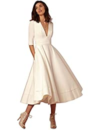 Women's Party Dress Vintage Deep V-Neck Half Sleeve Zip Back Swing Dress