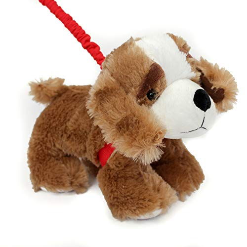 FunStuff Stuffed Animal Plush Toy- Dark Brown Spaniel Dog on a Retractable and Removable Leash (Dog Retractable Leash Animal)