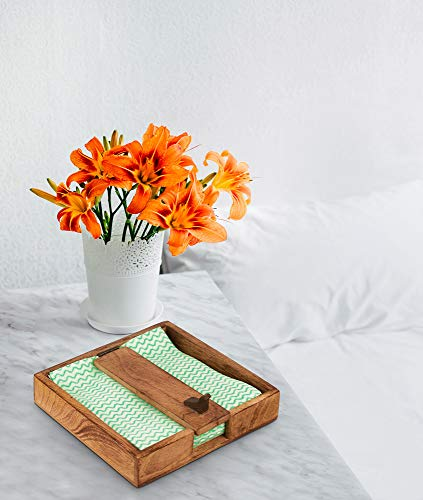 Exclusive Wooden Napkin Holder With Wood Weight Arm Tisue Dispenser Organizer For Kitchen Countertop Dining Table Living Room Bedroom Dressers Indoor And Outdoor Use Durable Wood Home Office Desk (Wood Outdoor Table Use For)