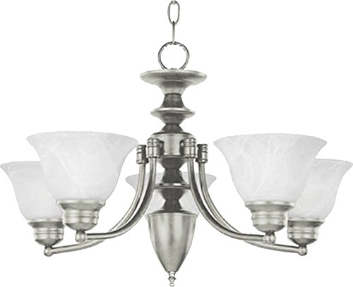 Maxim 2699MRSN Malaga 5-Light Chandelier, Satin Nickel Finish, Marble Glass, MB Incandescent Incandescent Bulb , 60W Max., Dry Safety Rating, Standard Dimmable, Opal Glass Shade Material, Rated Lumens