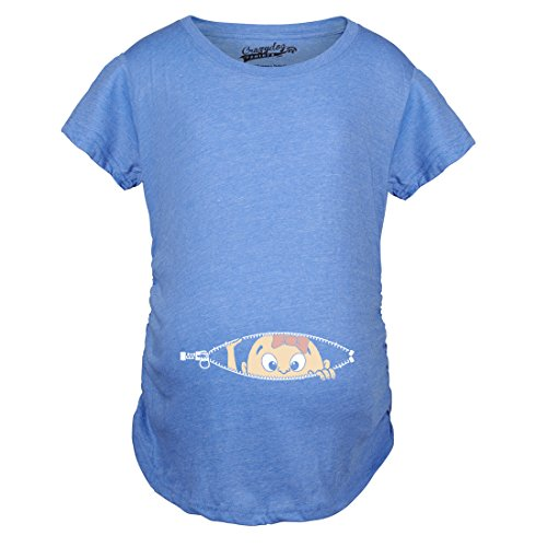 Maternity Baby Girl Peeking with Pink Bow Shirt Funny Cute Pregnancy T Shirt (Blue) - M