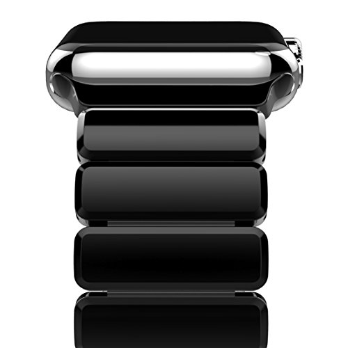Apple Watch Series 3 Band, Oittm 42mm Stainless Steel Replacement Strap Link Bracelet Metal iWatch Band with Double Button Folding Clasp for Apple Watch Series 3/Series 2/Series 1 42mm (Bright Black) by Oittm