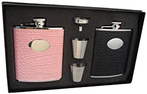 """Visol """"Noir and Annabella"""" His and Her Hip Flask Gift Set, 6-Ounce"""
