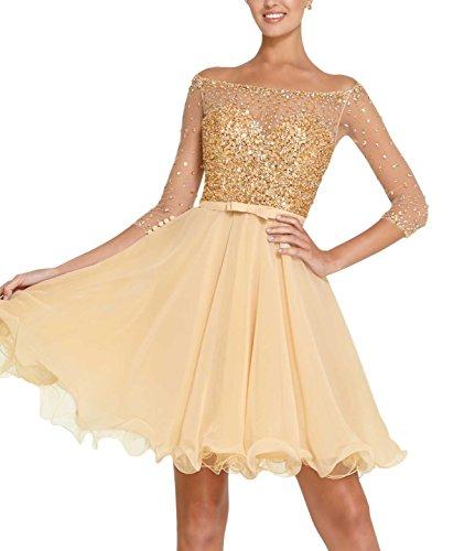 Bridal_Mall - Vestido - trapecio - manga 3/4 - para mujer dorado