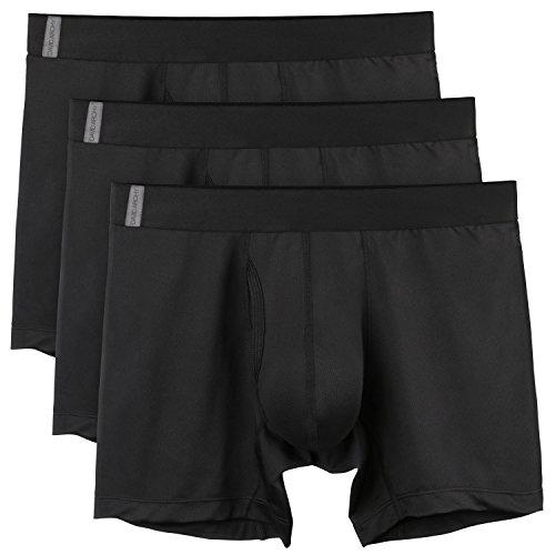 David Archy 3 Pack Men's Athletic Sur-Dry Tech Mesh Sports Boxer Briefs (L, Black-New)