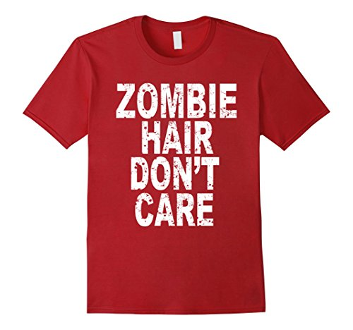 Hair Costumes Red Men Halloween Ideas (Mens Zombie Hair Don't Care T Shirt Scary Halloween 3XL)