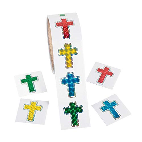 Fun Express - Cross Prismatic Stickers - Stationery - Stickers - Stickers - Roll - 1 Piece