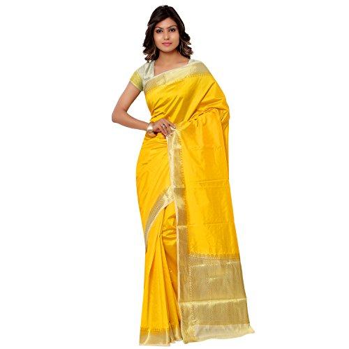 Yellow Sari (Janasya Women's Mustard Kanjivaram Raw Art Silk Contrast Pallu)