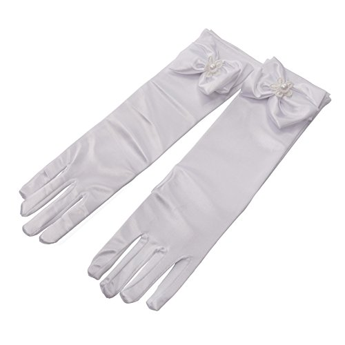 Lusiyu Girl Solid Color Long Elbow Length Formal Pageant Glove (white 01)