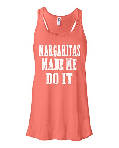 Margaritas Made Me Do It Southern Element Women's Racerback Flowy Tank Top (Medium, Coral)