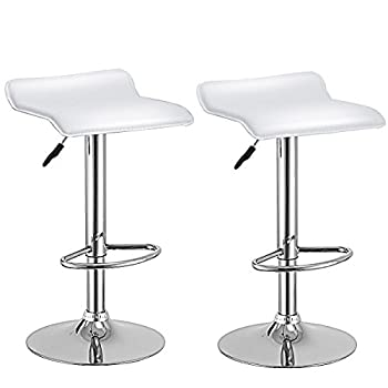 Costway Set Of 2 Swivel Bar Stools Adjustable PU Leather Backless Dining Chair (White)
