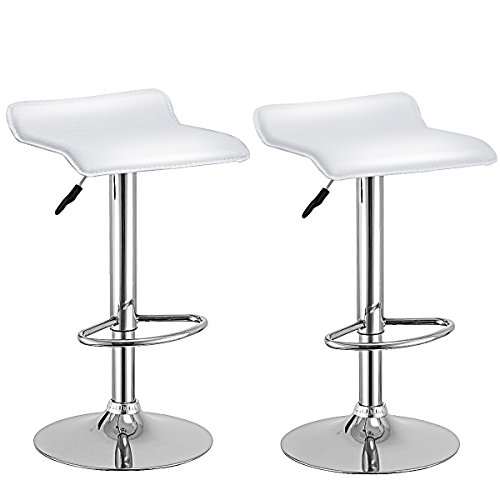 Costway Set Of 2 Swivel Bar Stools Adjustable PU Leather Backless Dining Chair (White) (Bar Set Chair)