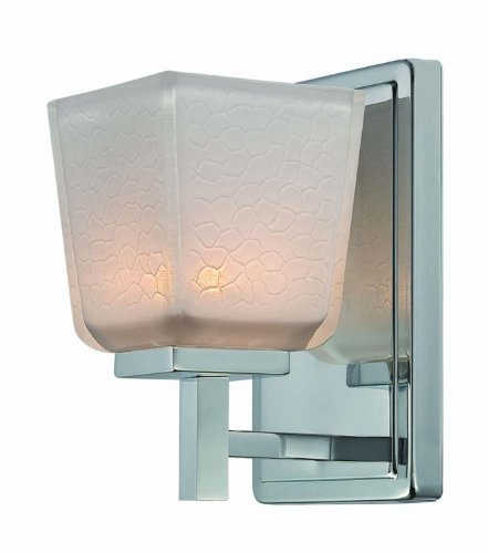 Artcraft Lighting Freeport Transitional Wall Sconce, Chrome With White Crackled Glassware Shade - White Crackled Glass Shade