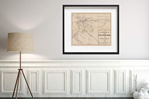 Pacific Electric Railway Map (Map|Pacific Electric Railway 1945 Transit/RR|Vintage Fine Art Reproduction|Size: 20x24|Ready to Frame)