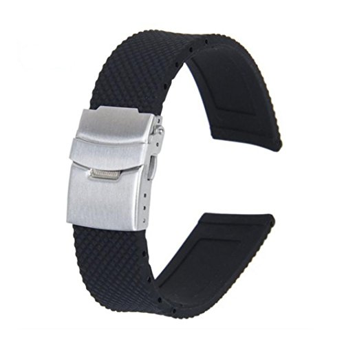 (Creazy Black Silicone Rubber Waterproof Watch Strap Band Deployment Buckle (22 Millimeters))