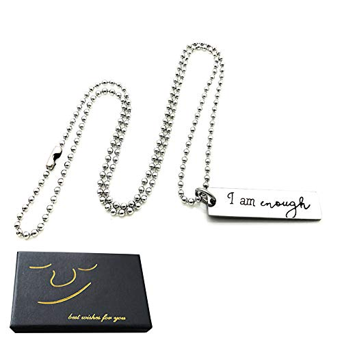 Encouragement Gifts for Women Men Keep I Am Enough Necklace Inspirational Gifts for Daughter Son Friends Birthday Christmas Gifts with Gift Box