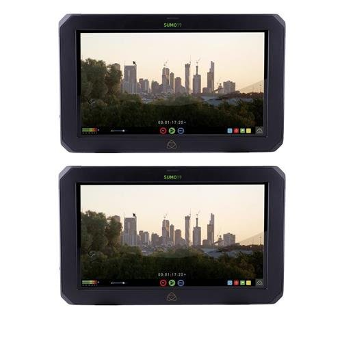 Atomos 2 PACK Sumo 19″ Touchscreen On-Set and In-Studio 4K HDR Monitor Recorder, 1920×1200