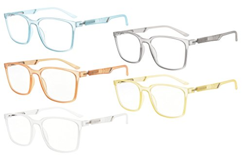 Eyekepper 5-Pack Large Frame Mens Womens Reading Glasses With Special Spring Hinge (One for each color, - Large For Mens Eyeglasses Heads
