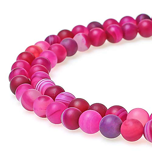 JARTC Natural Stone Beads Matte Rose Red Stripe Agate Round Loose Beads for Jewelry Making DIY Bracelet Necklace (8mm)
