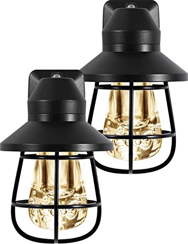 GE Vintage LED Night 2 Pack, Plug-in, Light Sensing, Warm White, Rustic, Decorative, Home Décor, Farmhouse, Ideal for Bedroom, Bathroom, Nursery, Kitchen, Living Room, Bronze Cage, 44737,