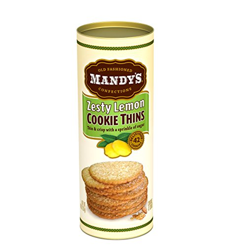 Mandy's Cookie Thins, Zesty Lemon, 4.6 Ounce (Pack of 6) -