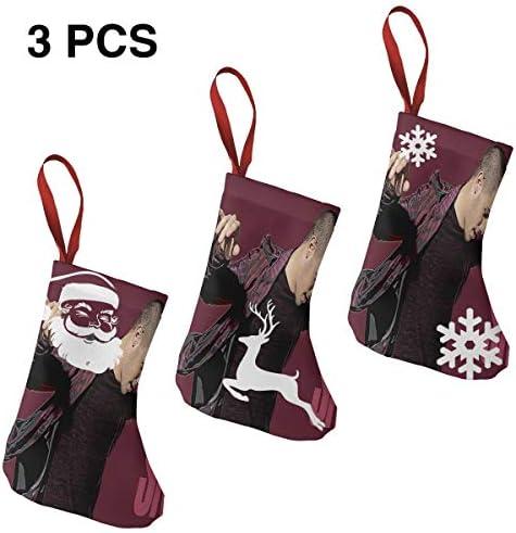 クリスマスの日の靴下 (ソックス3個)クリスマスデコレーションソックス 音楽Nick Jonas クリスマス、ハロウィン 家庭用、ショッピングモール用、お祝いの雰囲気を加える 人気を高める、販売、プロモーション、年次式