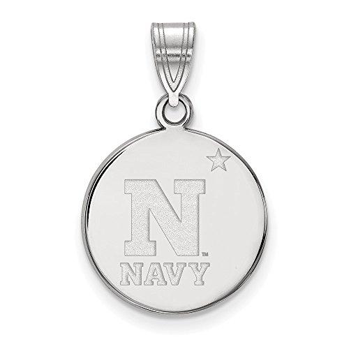 Sterling Silver Logo Art Navy Medium Disc Pendant