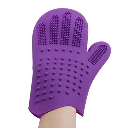YJYdada Pet Dog Cat Bath Comb Silicone Glove Hair Fur Grooming Massaging Brush (Purple)