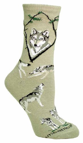 Wheel House Designs Women's Wolf Socks ,Stone,9-11