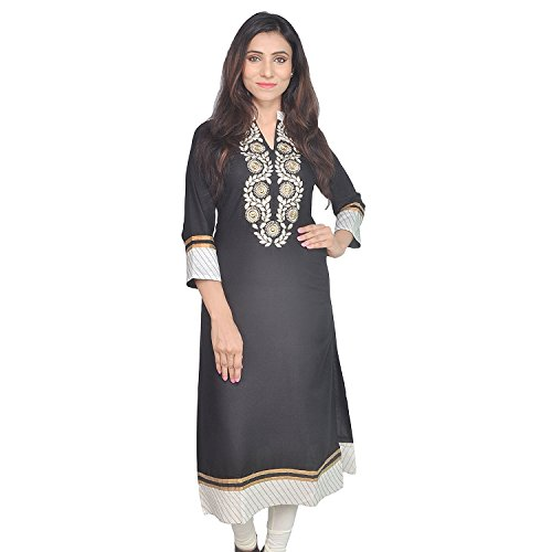 Chichi Indian Women Kurta Kurti 3/4 Sleeve Medium Size Plain with Jaipuri Embroidered Straight Red-Beige Top by CHI