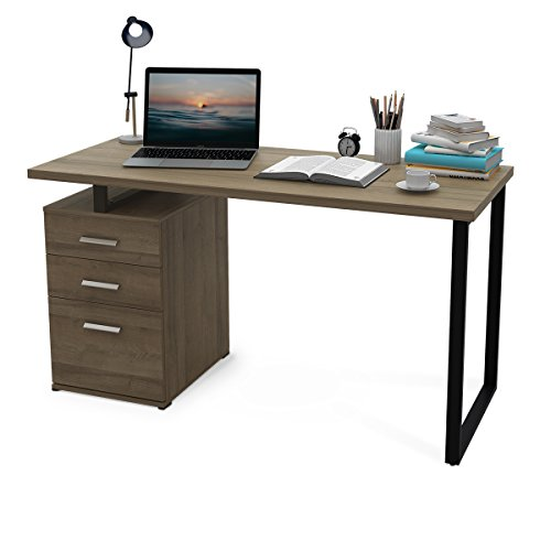 "DEVAISE Modern Computer Desk, 55.1"" Office Desk with Reversible File Cabinet"