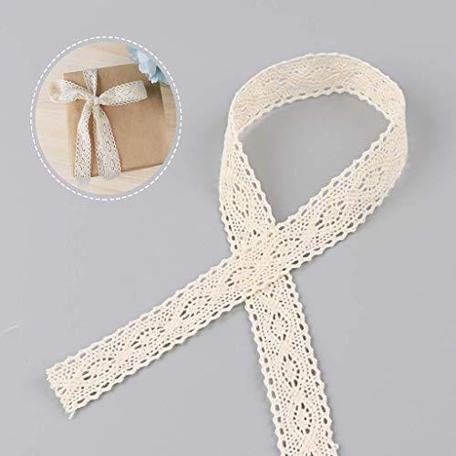 LLJEkieee 15M Lace Trim Vintage Cotton Crochet Wedding Bridal Ribbon Sewing Craft for Hat/Millinery, Headband, Upholstery, Wedding Dress ()