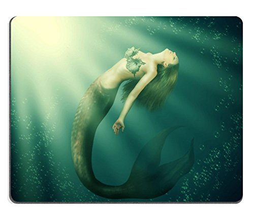 Price comparison product image Liili Mouse Pad Natural Rubber Mousepad IMAGE ID: 24443008 Fantasy beautiful woman mermaid with fish tail and long developing hair swimming in the sea under water