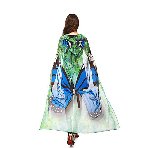 Dora Bridal Women Halloween Cape Wrap Costume Hood Chiffon Butterfly Cosplay Outfit Blue ()