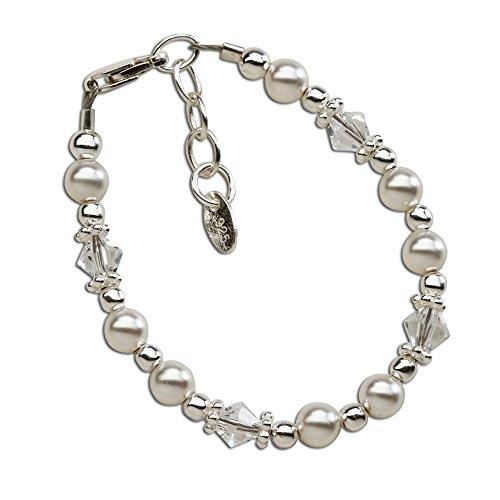 Sterling Silver Baby Bracelet with Swarovski Pearls and Swarovski Crystals (0-6 months)