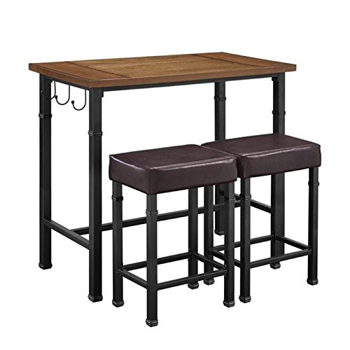 - Hawthorne Collections 3 Piece Pub Set in Black