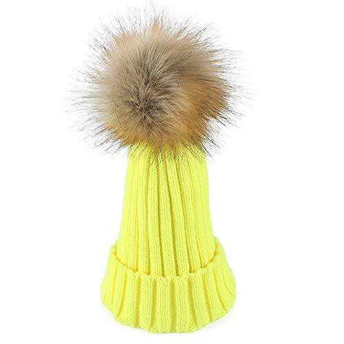 MJ-Young New Winter Hats for Women Girls Pom Pom Beanie Hat Crochet Knitted Wool Warm Cap Skull Beanies Caps Fluorescent Yellow -