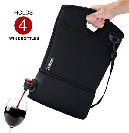 Wine Tote Purse- Neoprene Carrier for BYOB + 2 Disposable Wine Baggies - Holds 3 Litres (4 Bottles) - Wine to Go Made Easy! (Black) (Purse With Wine Spout compare prices)