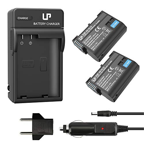 (LP EN-EL15 EN EL15a Battery Charger Set, 2-Pack Battery & Chargers, Compatible with Nikon D500, D600, D610, D750, D800, D800e, D810, D810a, D850, D7000, D7100, D7200, D7500, 1 v1, Z6, Z7 Cameras)
