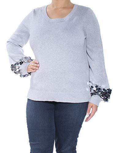Michael Kors Cashmere Shrug - Michael Michael Kors Womens Sequin-Cuff Long Sleeves Crewneck Sweater Gray XL